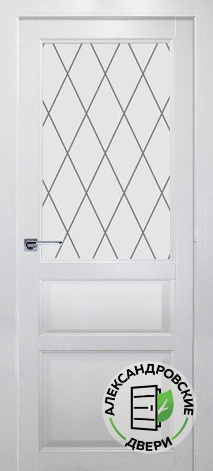 Александровские двери КАРОЛИНА Ромб эмаль белая