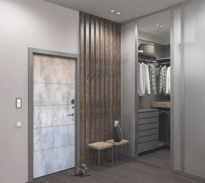 Входная металлическая дверь Аргус Люкс АС Серебро антик Агат Светлый бетон