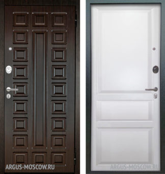 Металлическая сейф-дверь Берлога Оптима 2П Сенатор Венге/Каролина Эмаль белая