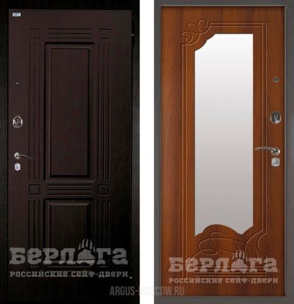 Стальная дверь с зеркалом Берлога Оптима 2П Триумф Венге/Ольга Дуб рустикальный