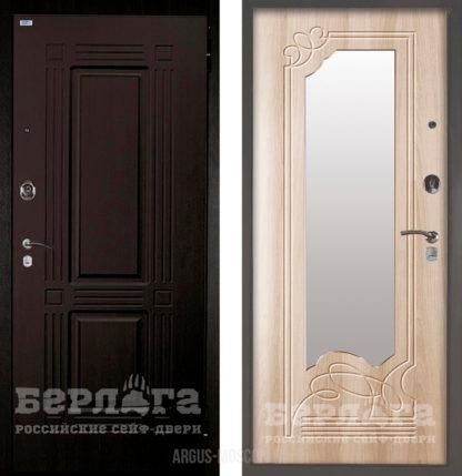 Купить в Москве входную дверь с зеркалом Берлога Оптима 2П Триумф Венге/Ольга Ларче светлый