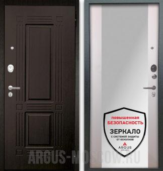 Стальная входная дверь с зеркалом Берлога Оптима 2П Триумф Венге/Вояж Белое дерево