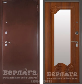 Входная дверь с зеркалом Берлога Оптима Ольга Дуб рустикальный