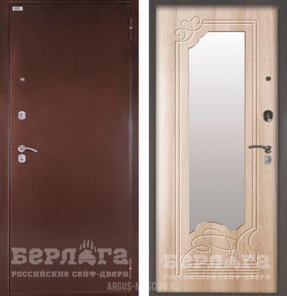 Купить белую входную дверь с зеркалом Берлога Оптима Ольга Ларче светлый