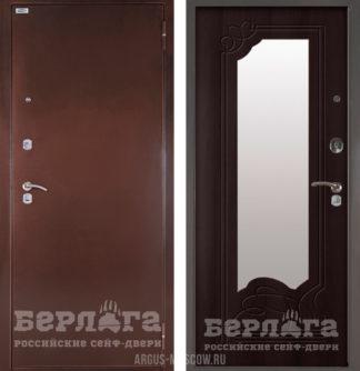 Стальная входная дверь с зеркалом Берлога Оптима Ольга Венге тисненый