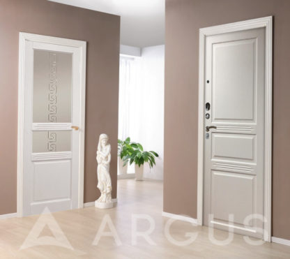 Стальная дверь Аргус Серебро антик Джулия-2 Эмаль Белый жемчуг