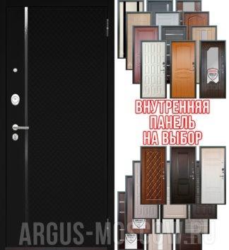 Металлическая дверь Аргус Люкс 3К 2П Лия Черный софт с панелью на выбор