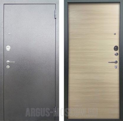 Металлическая дверь Аргус Люкс 3К Серебро антик Элегант Дорс светлый