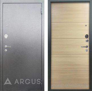 Металлическая сейф-дверь Аргус Люкс 3К Серебро антик Агат Дорс светлый