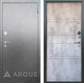 Стальная сейф дверь Аргус Люкс 3К Серебро антик Агат Дуо Светлый бетон
