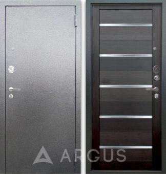 Входная металлическая дверь со стеклянными вставками Аргус Люкс 3К Серебро антик Александра Вельвет