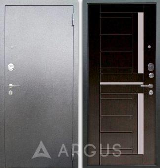Стальная входная дверь со стеклом Аргус Люкс 3К Серебро антик Альфред Венге