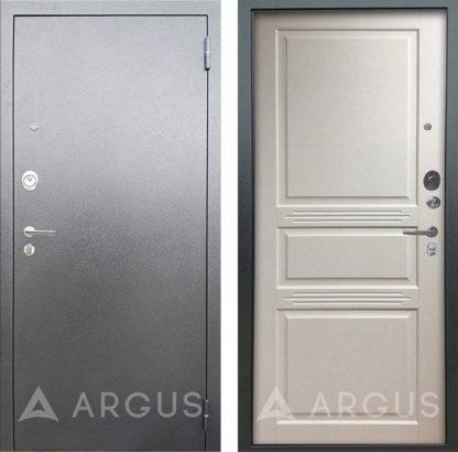 Входная сейф дверь из массива сосны Аргус Люкс 3К Серебро антик Джулия-2 Эмаль Белый жемчуг
