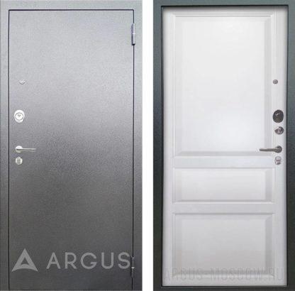 Входная сейф дверь Аргус Люкс 3К Серебро антик Каролина Эмаль белая