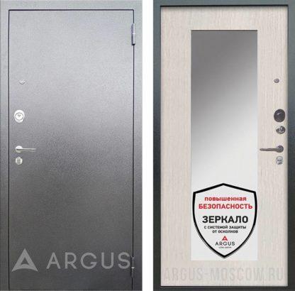 Входная светлая сейф-дверь с зеркалом Аргус Люкс 3К Серебро антик Милли Ларче светлый