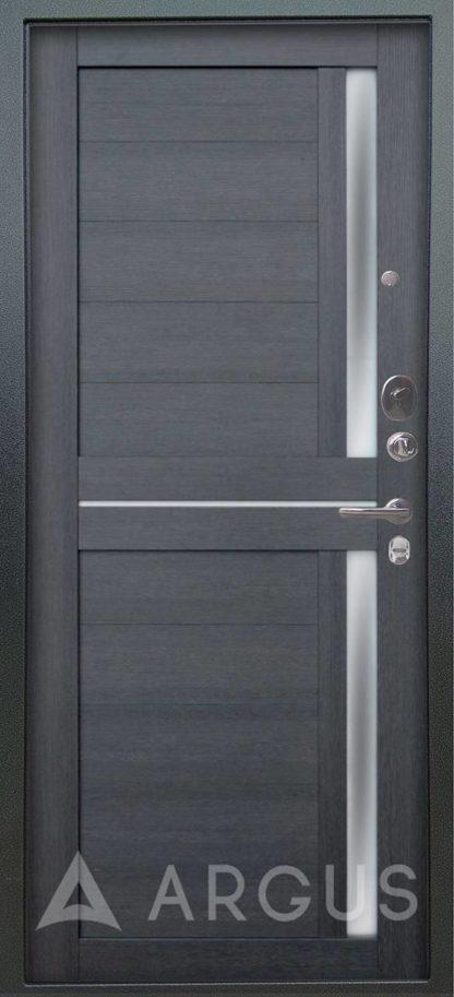 Входная железная сейф дверь с молдингом и стеклом Аргус Люкс 3К Серебро антик Мирра Лунная ночь