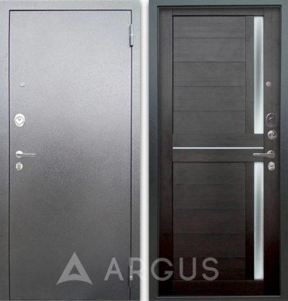 Железная дверь с молдингом и стеклом Аргус Люкс 3К Серебро антик Мирра Вельвет