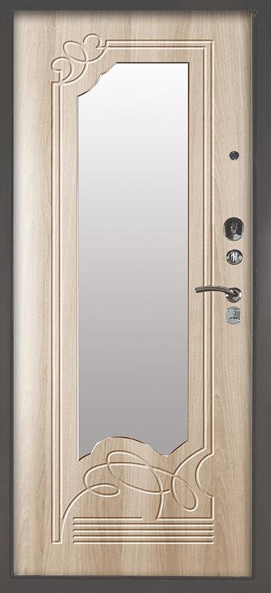 Металлическая дверь с зеркалом Аргус Люкс 3К Серебро антик Ольга Ларче светлый