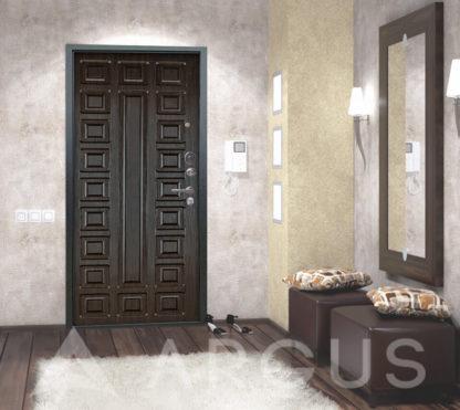Входная стальная дверь Аргус Люкс 3К Серебро антик Сенатор Венге тисненый