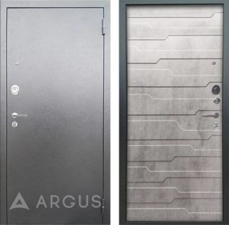 Входная железная дверь Аргус Люкс 3К Серебро антик Техно Светлый бетон