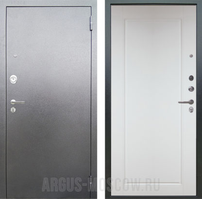 Входная дверь Аргус Люкс 3К Серебро антик Тревор Белый силк