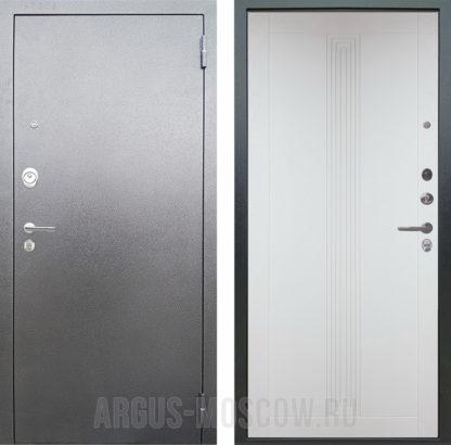 Железная сейф дверь Аргус Люкс 3К Серебро антик Вертикаль Белый Роял Вуд