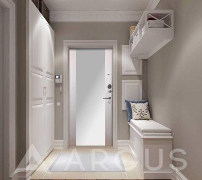 Заказать входную стальную дверь Аргус Люкс 3К Серебро антик Вояж Белое дерево с зеркалом