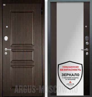Металлическая входная дверь с зеркалом Аргус Люкс АС 2П Сабина Венге/Вояж Венге тисненый