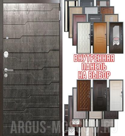 Стальная дверь Аргус Люкс АС 2П Техно Дуб Филадельфия графит - панель на выбор