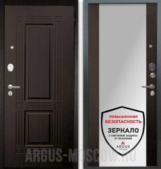 Металлическая сейф-дверь с зеркалом Аргус Люкс АС 2П Триумф Венге/Вояж Венге тисненый