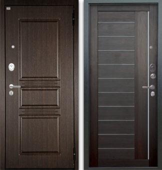 Сейф-дверь с молдингом и стеклом Аргус Люкс АС 2П Сабина Венге/Диана Вельвет