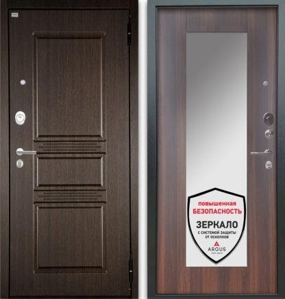 Металлическая входная дверь с зеркалом Аргус Люкс АС 2П Сабина Венге/Милли Коньяк Калифорния