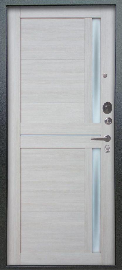 Стальная сейф-дверь с молдингом и стеклом Аргус Люкс АС 2П Триумф Венге/Мирра Буксус