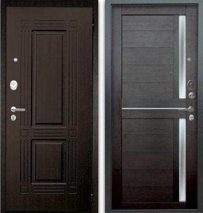 Входная дверь со стеклом и молдингом Аргус Люкс АС 2П Триумф Венге/Мирра Вельвет