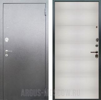 Входная сейф дверь Аргус Люкс АС Серебро антик Агат Белый вельвет