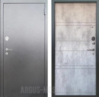 Металлическая дверь Аргус Люкс АС Серебро антик Агат Дуо Светлый бетон
