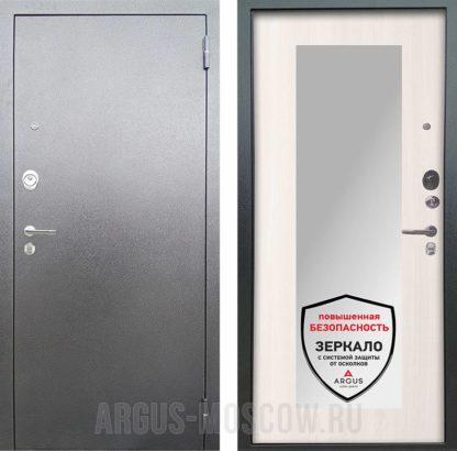Входная дверь с зеркалом Аргус Люкс АС Серебро антик Милли Ларче светлый