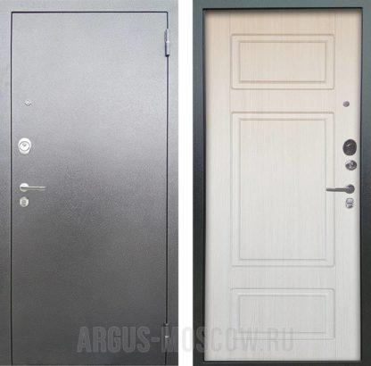 Заказать входную сейф дверь Аргус Люкс АС Серебро антик Ниагара Белый ясень