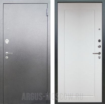 Железная входная дверь Аргус Люкс АС Серебро антик Тревор Белый силк в Москве