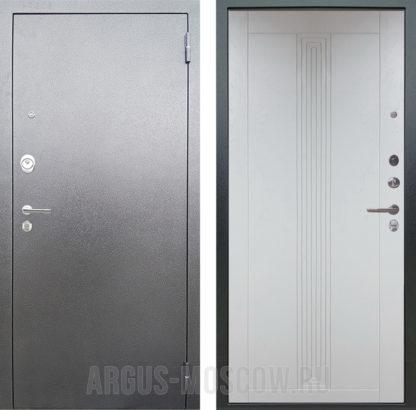 Купить металлическую входную дверь Аргус Люкс АС Серебро антик Вертикаль Серый Роял Вуд