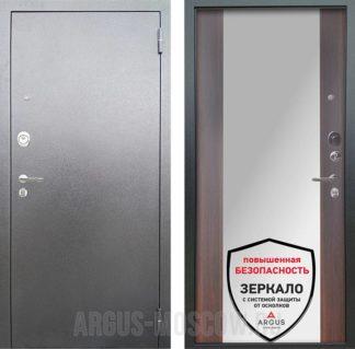 Стальная входная сейф дверь с зеркалом Аргус Люкс АС Серебро антик Вояж Коньяк Калифорния