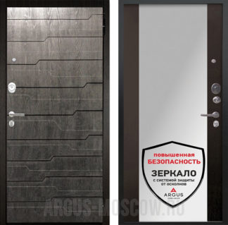 Металлическая сейф-дверь с зеркалом Аргус Люкс ПРО 2П Черный шелк Техно Дуб Филадельфия графит/Вояж Венге