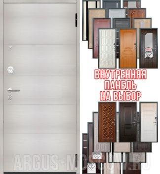 Заказать стальную дверь Аргус Люкс ПРО 3К 2П Черный шелк Агат Белый вельвет - панель на выбор