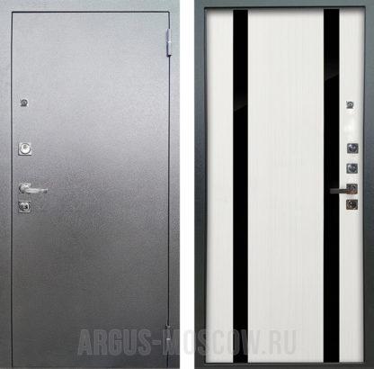 Стальная дверь Аргус Люкс ПРО 3К Серебро антик Дуэт Белое дерево