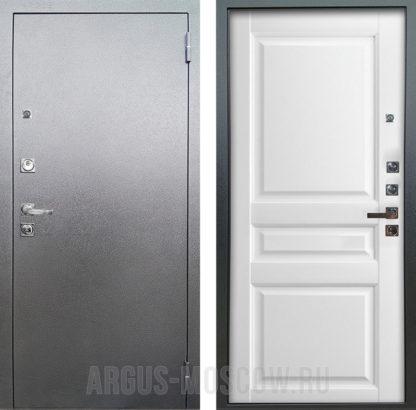 Металлическая дверь Аргус Люкс ПРО 3К Серебро антик Каролина Эмаль белая