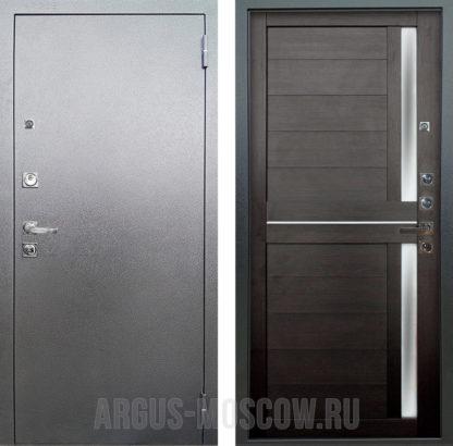 Входная дверь Аргус Люкс ПРО 3К Серебро антик Мирра Вельвет со стеклом и молдингами