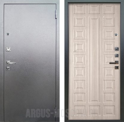 Входная стальная дверь Аргус Люкс ПРО 3К Серебро антик Сенатор Капучино