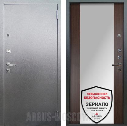 Стальная дверь с зеркалом Аргус Люкс ПРО 3К Серебро антик Вояж Венге тисненый
