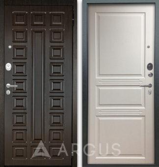 Входная металлическая дверь Аргус Люкс АС 2П Сенатор Венге/Джулия-2 Эмаль Белый жемчуг