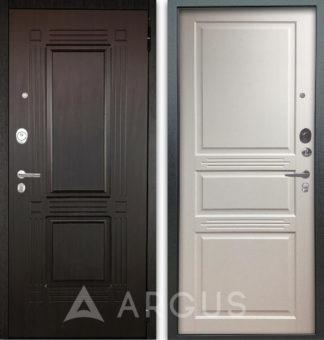 Заказать стальную белую дверь Аргус Люкс АС 2П Триумф Венге/Джулия-2 Эмаль Белый жемчуг